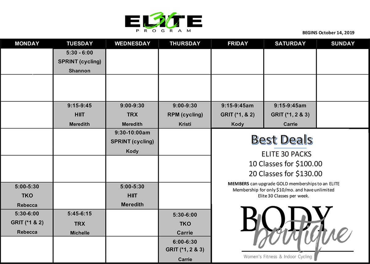 Elite30 Class Schedule
