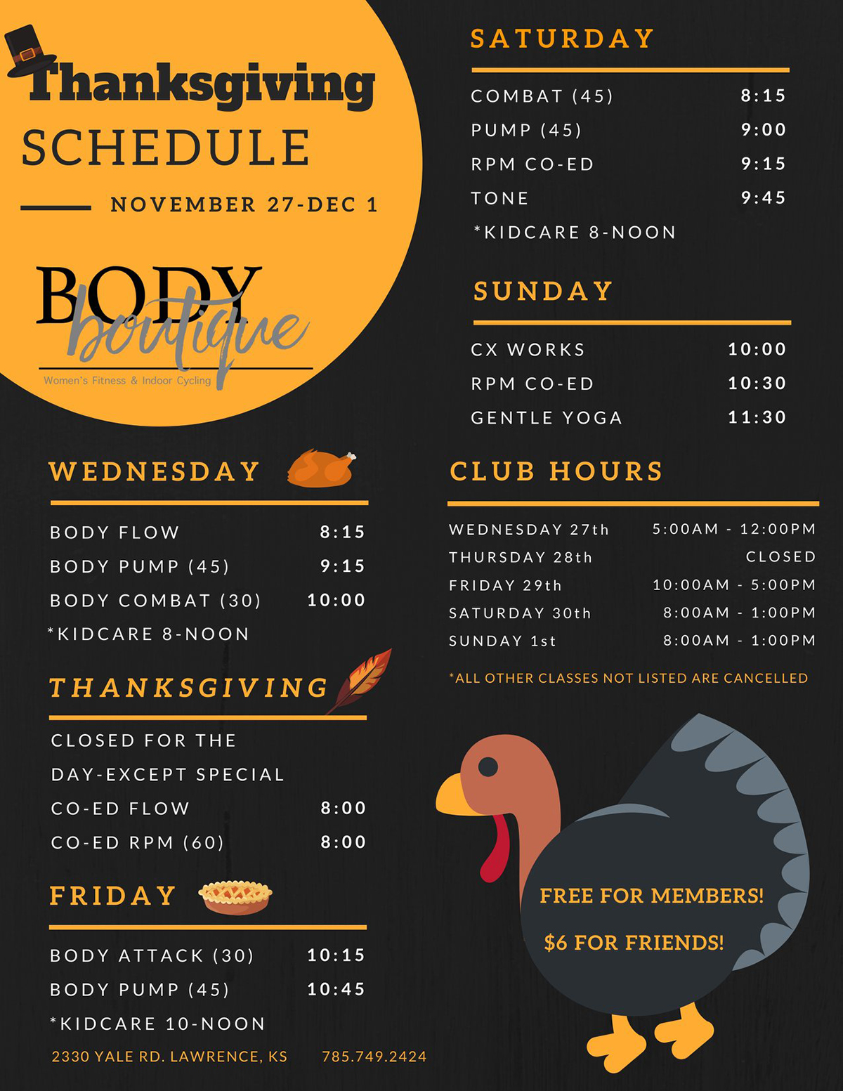 Holiday Hours & Classes