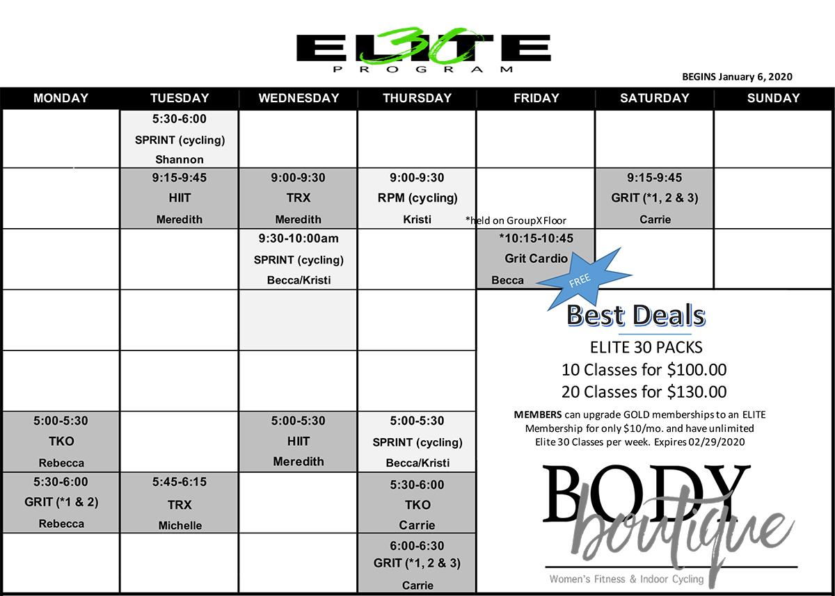 Elite30 Winter 2020 Class Schedule