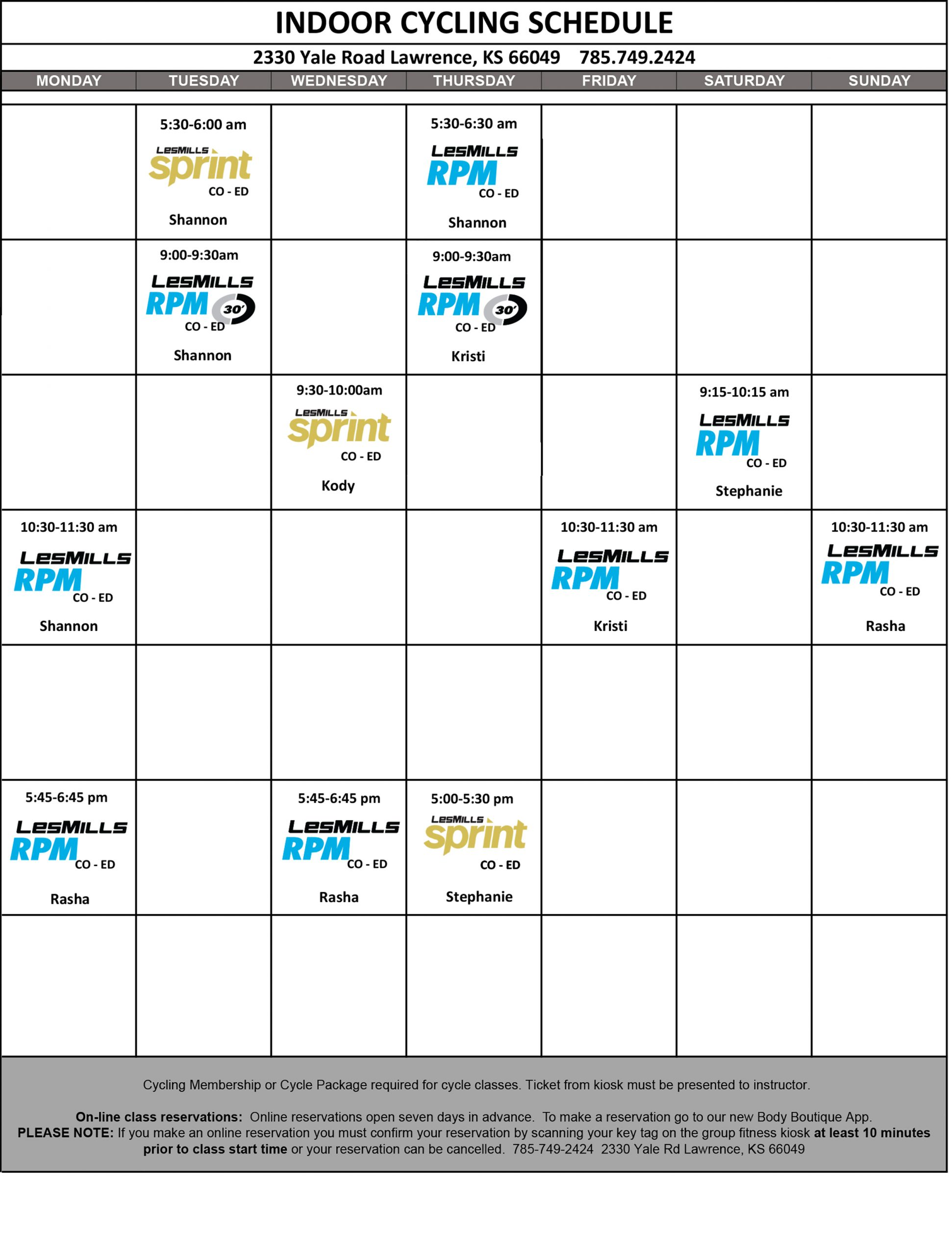 Live Cycling Class Schedule