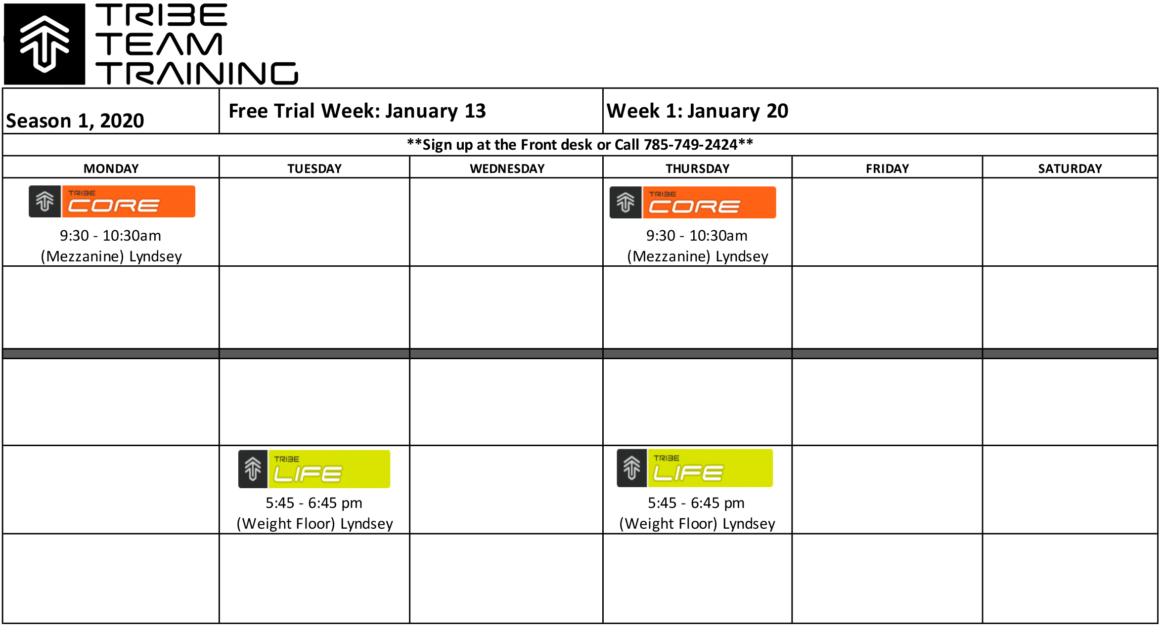 Tribe Team Training Class Schedule for Season One 2020