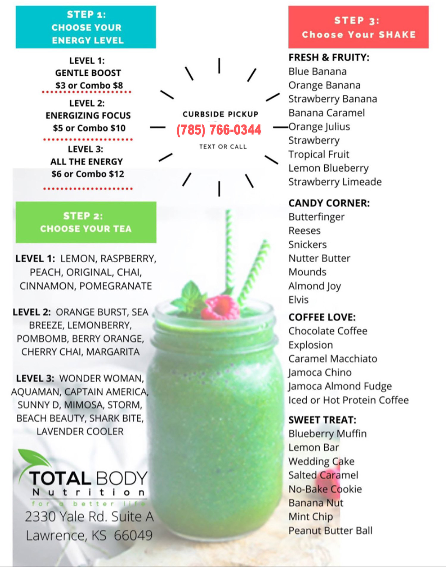 Total Body Nutrition Menu