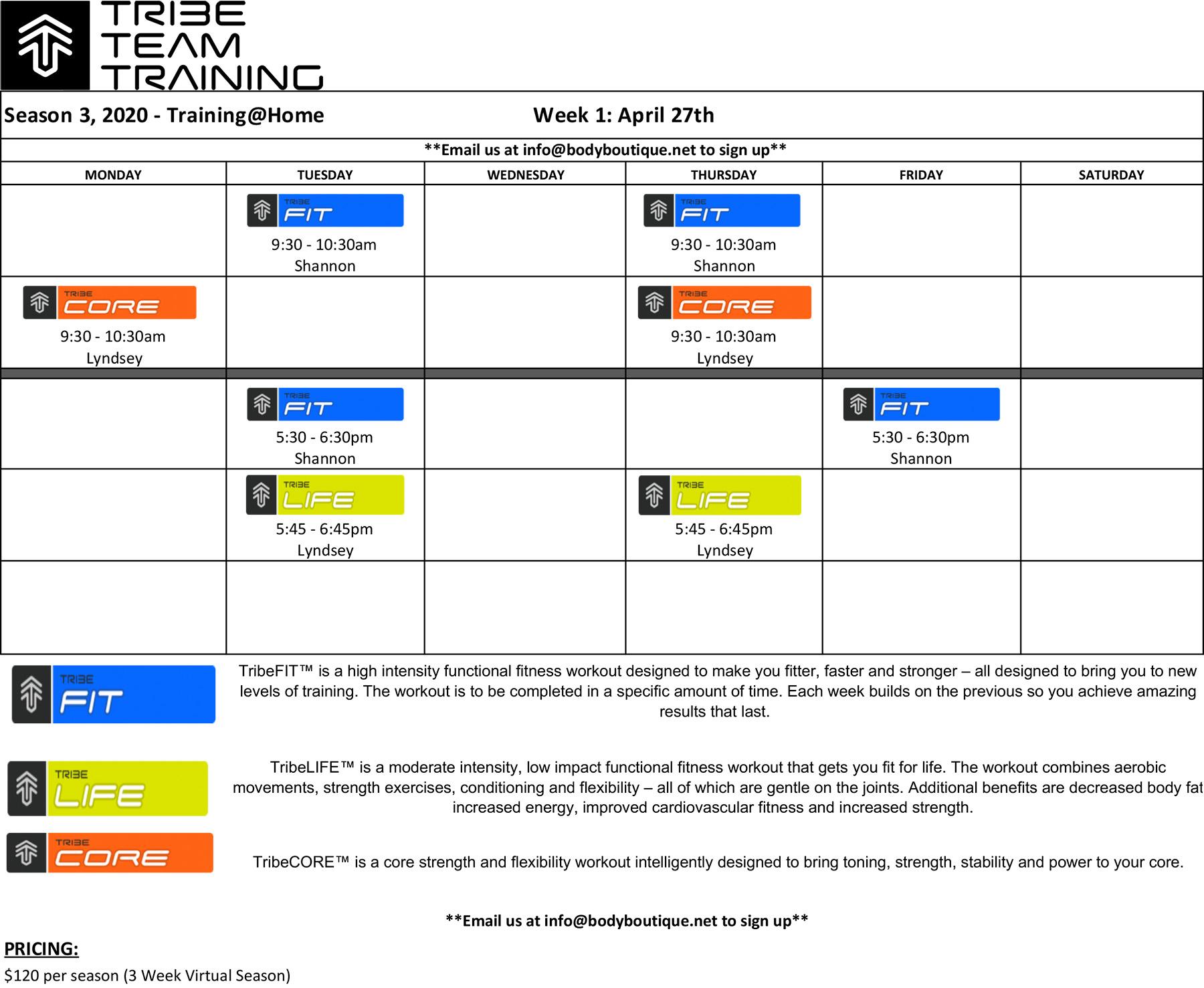 Tribe Team Training Class Schedule for Season Three 2020 - Training@Home