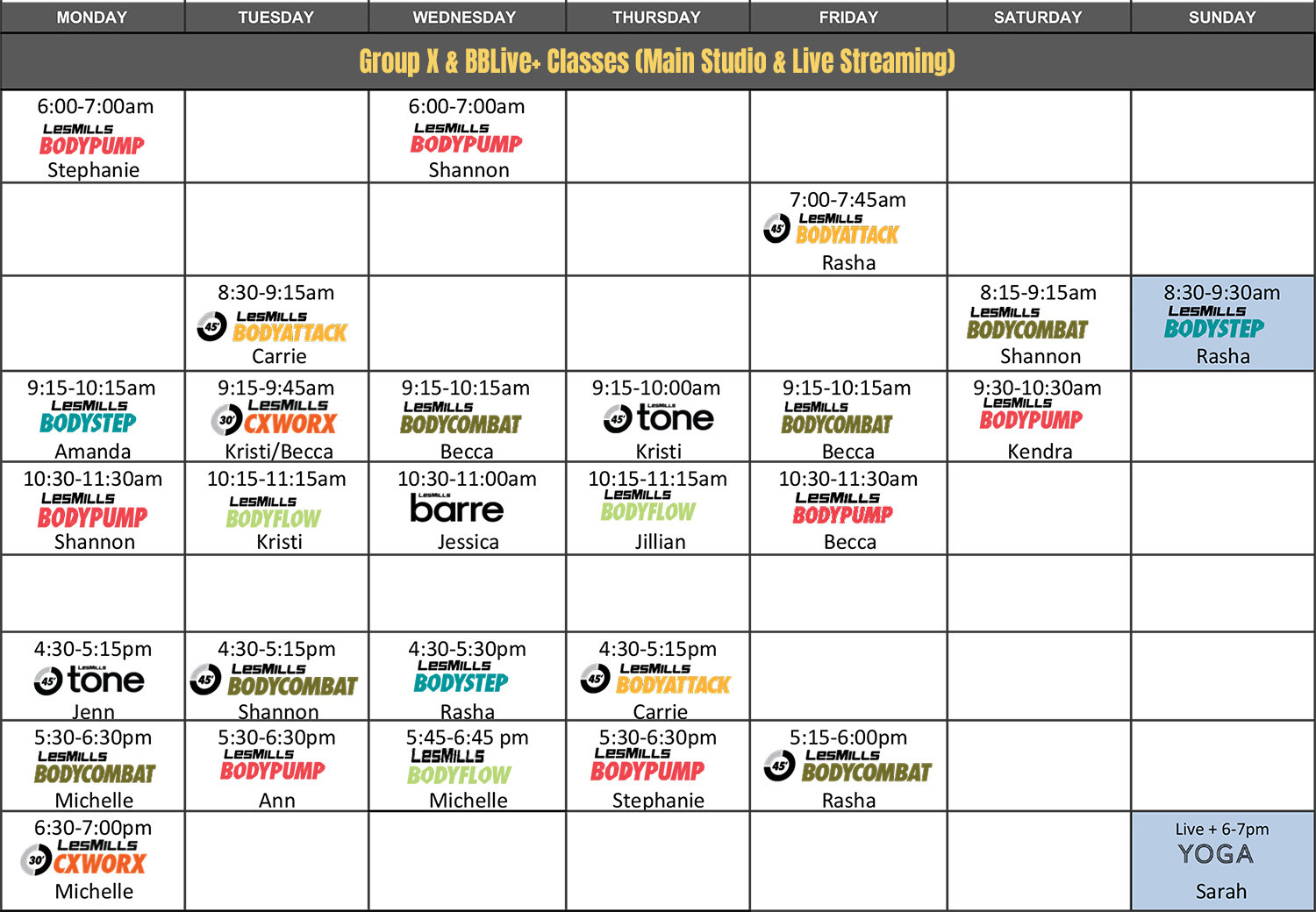 Body Boutique BBLive + Live-Stream Class Schedule