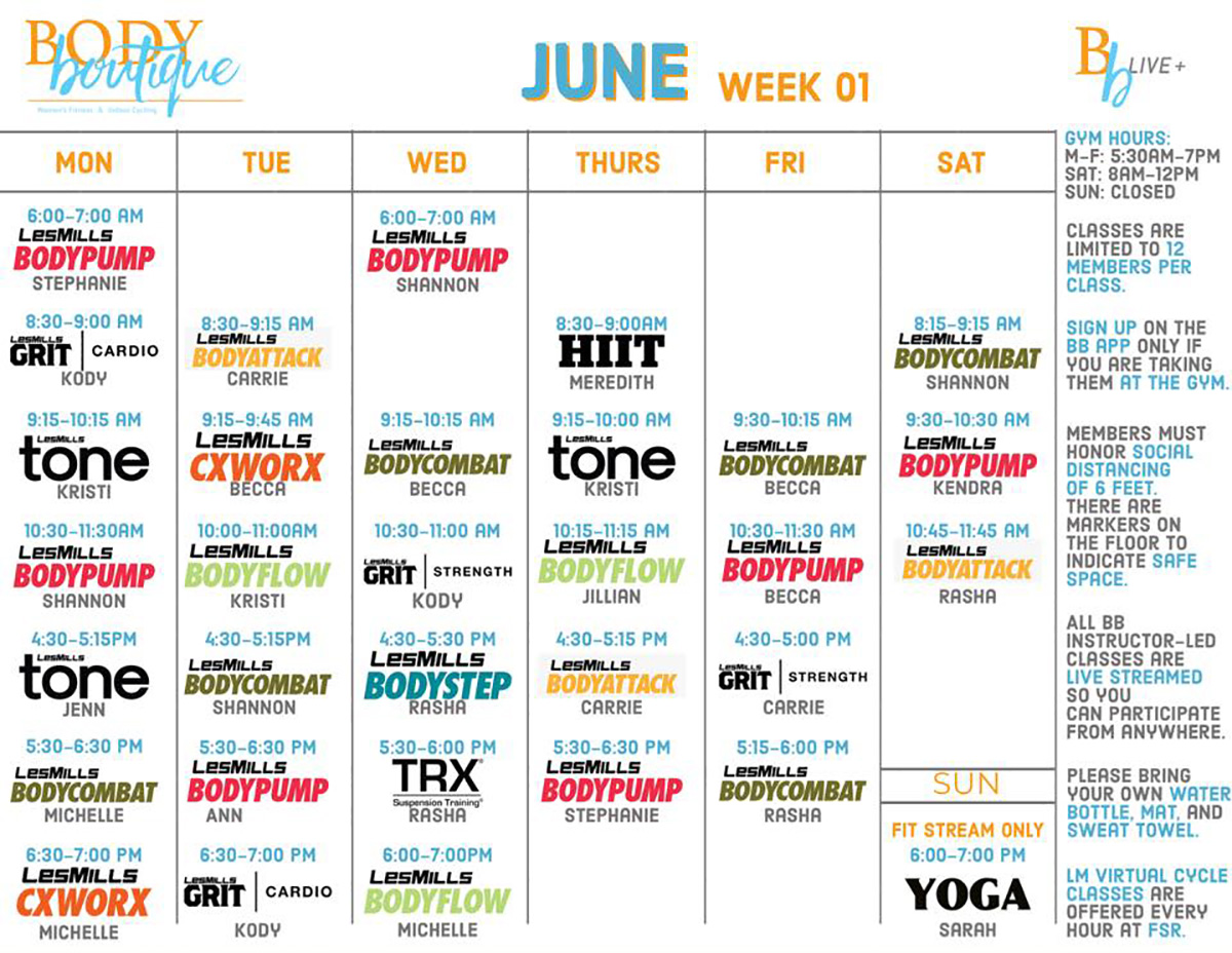 BB Live+ Group Fitness Class Schedule