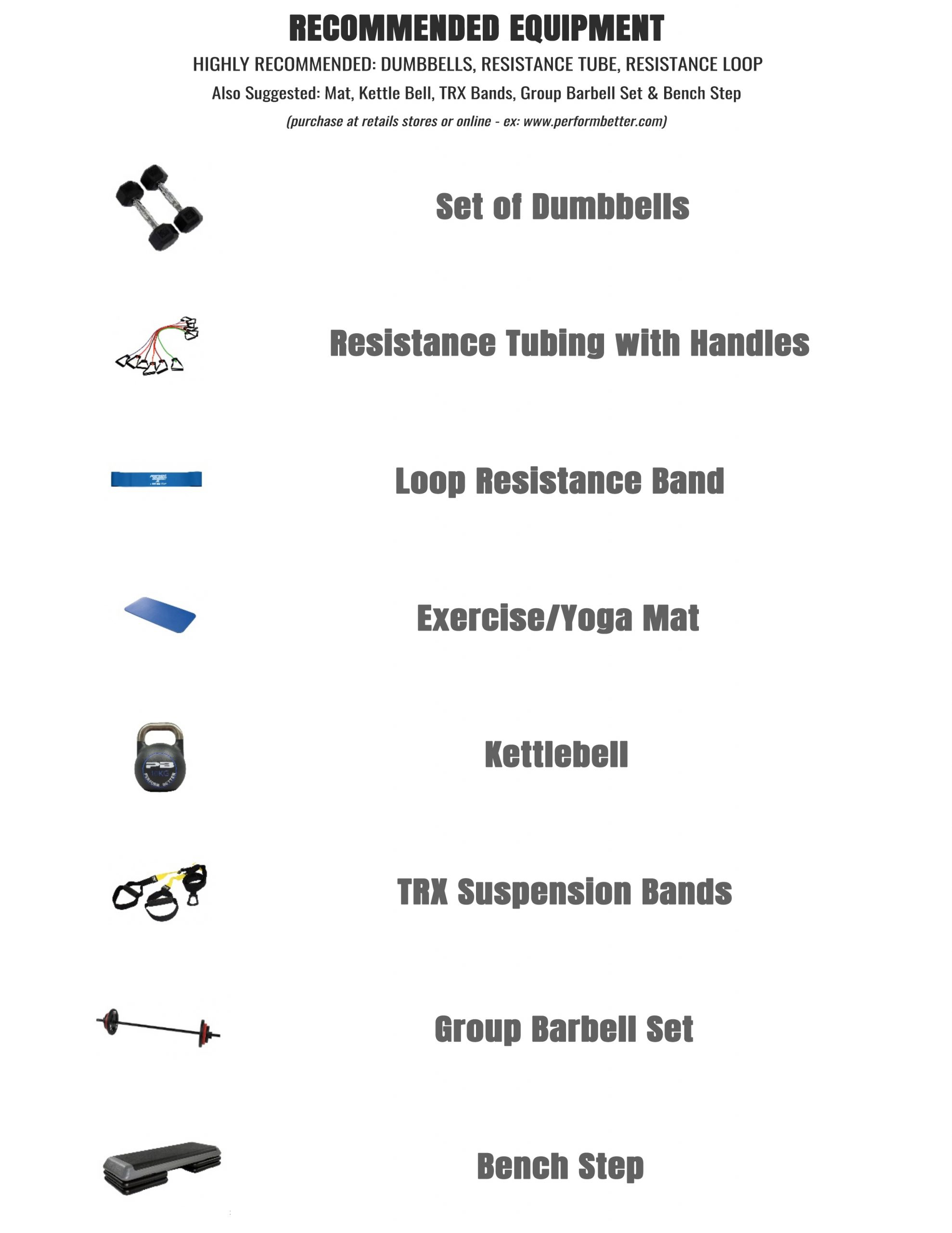Home Workout Recommended Equipment