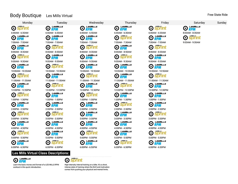 Virtual Cycling Class Schedule