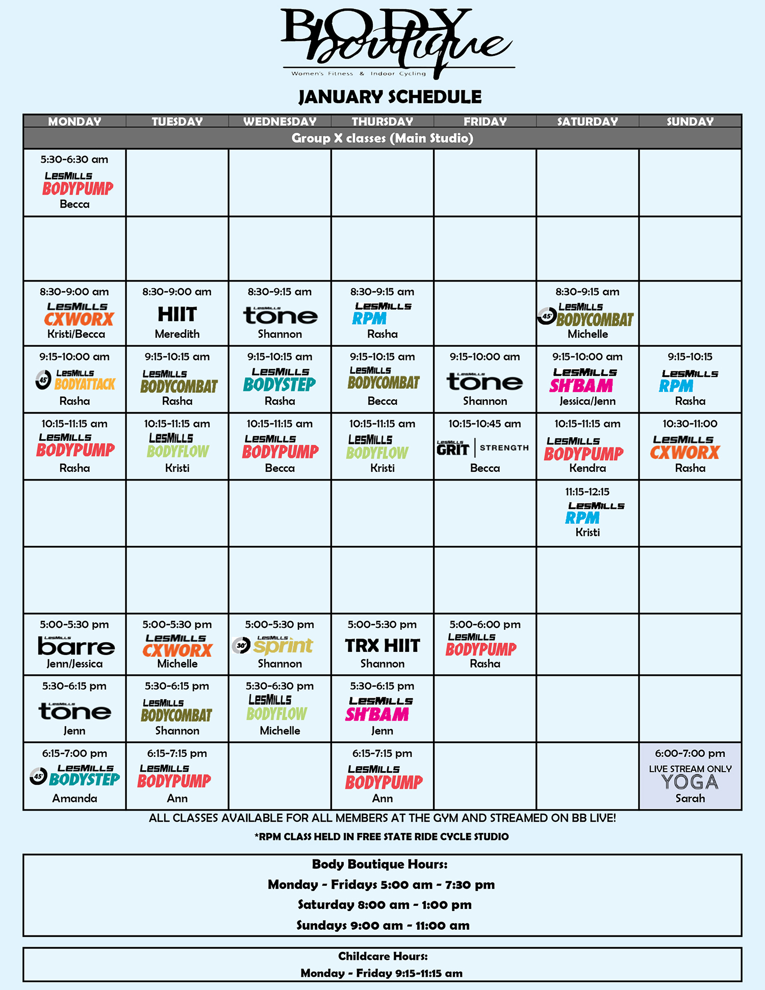 Group Fitness Live Stream Class Schedule